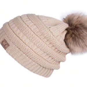 🆕️ Cc Khaki  Knit Pom Pom Beanie Hat